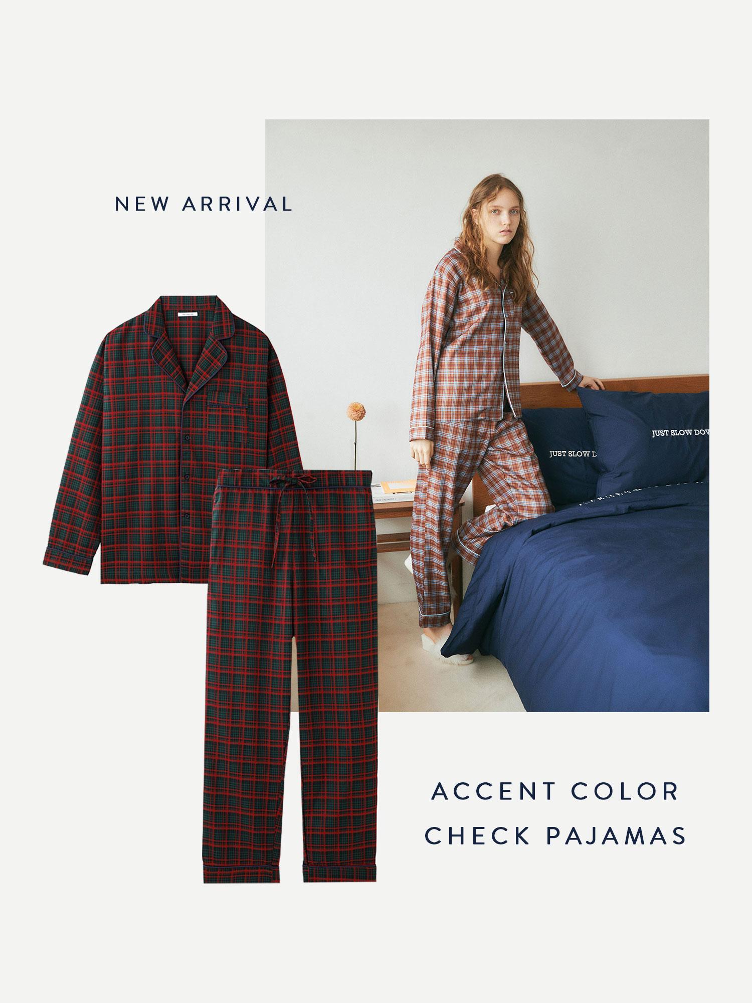 アクセントカラーチェックパジャマ